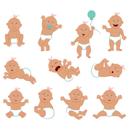 Vector set of light-skinned baby boy with red hair and blue eyes. Collection of eleven poses and facial expressions of a naked toddler in diapers