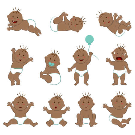 Vector collection of toddlers with light brown skin, brown eyes and hair. Eleven poses and moods of a naked baby boy in diapers