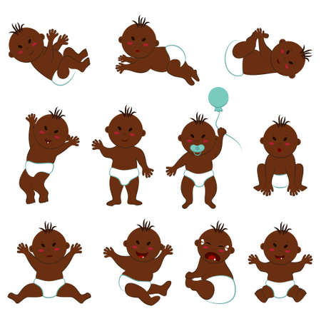 Vector set of different poses and facial expressions of a dark-skinned baby boy with black slanted eyes. Cheerful, funny, crying, sad, surprised, calm, etc. naked Eurasian toddler in diapers Ilustração