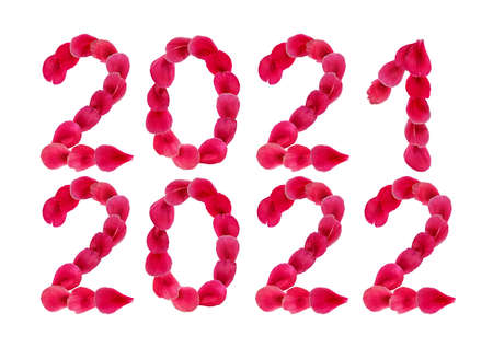 Decorative floral cliparts 2021 and 2022 isolated on white background. Set of natural pink - red design elements for the calendar. Numbers made of flower petals