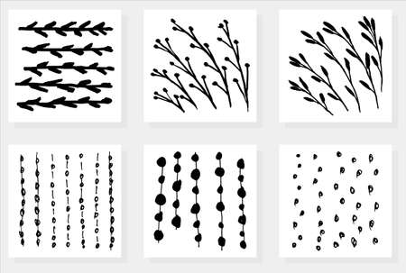 Set of six simple vector different patterns. Floral textures of stems and branches with leaves and berries and abstract backgrounds of hand-drawn dots, spots and lines