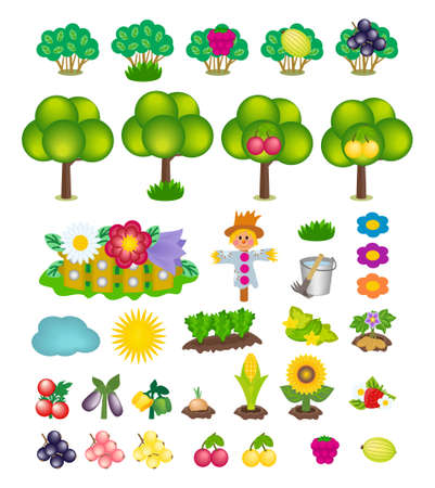 Set of kids cartoon summer icons isolated on white background. Vector symbols of green trees and bushes with berries, blooming garden, scarecrow, buckets of water, sun, cloud, vegetables and fruits