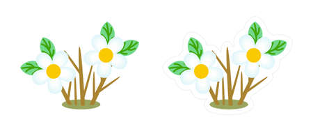 Spring flowering shrub sticker. Vector cartoon icon of the plant with stems and blue flowers. Clipart isolated on white background