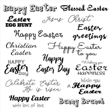 Easter greeting inscriptions in different fonts. Black and white text seamless pattern