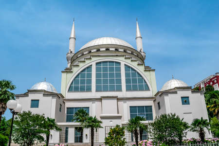 Shkoder, Albania - June 21, 2021: Ebu Beker Mosque in Shkoder. Modern Muslim temple with two minarets Editoriali