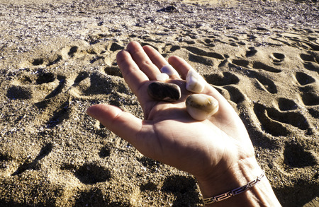 Young woman  holds a handful of stones found on the beach  photo