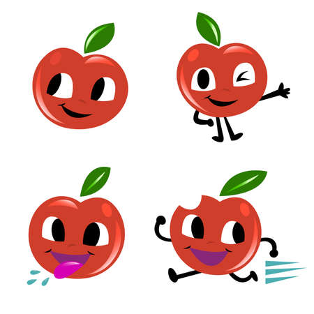 stock clipart icons: 4 Red Apples Cartoon Character.