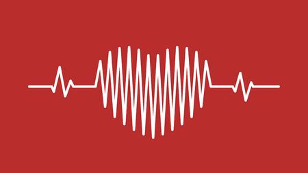 Heart pulse sound wave icon backdrop Illustration