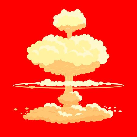 bombe atomique: Explosion de la bombe nucléaire en rouge.