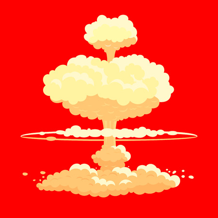 Nuclear bomb explosion in red.
