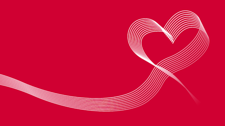 Heart wave ribbon vector icon background. Illustration