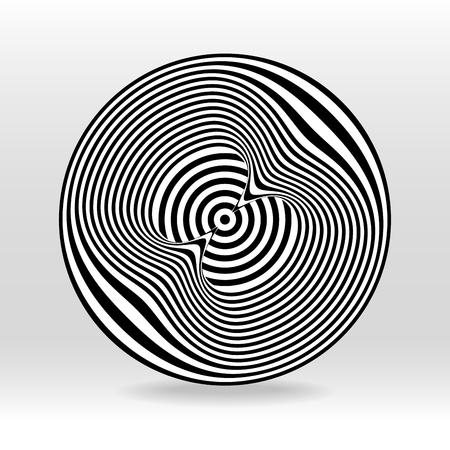 fondo astratto dell'onda sonora del cerchio di eco in bianco e nero Vettoriali