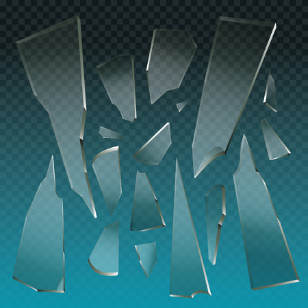 pieces of clear broken glass elements vector