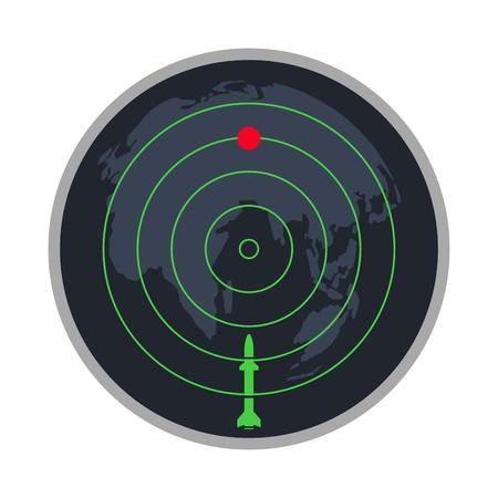 écran de radar nucléaire de missile affichage vecteur icône arrière-plan