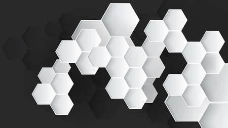 black and white hexagonal abstract vector background Ilustração