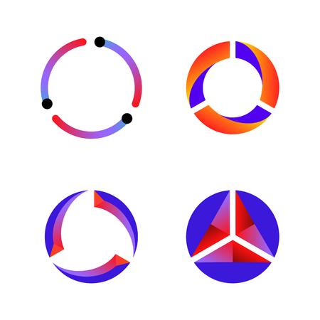 Set van cyclus data tech pictogram vector achtergrond