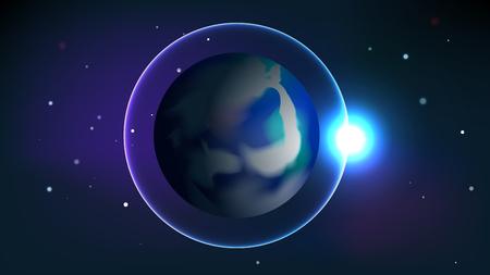 Il pianeta terra e l'orbita si illuminano sullo sfondo vettoriale dello spazio