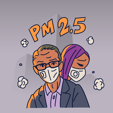 Man and woman are wearing n95 mask to protect outdoor air pollution