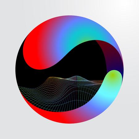 Big data tech circle vector background