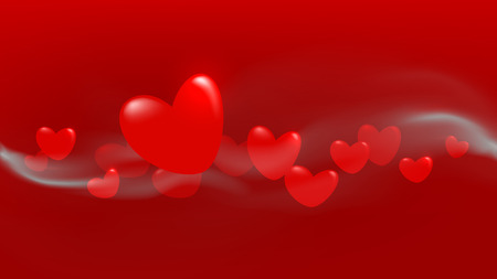 Red floating heart wave with steam background