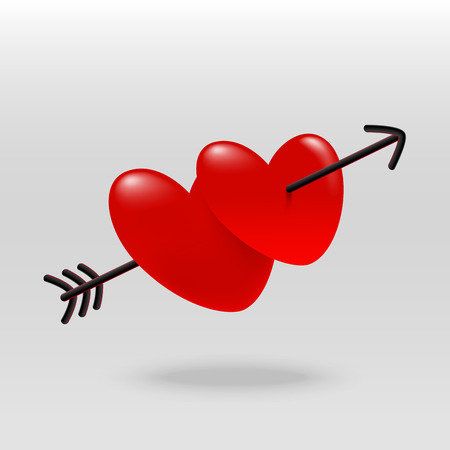 Red hearts with arrow relationship concept Valentines Day Illustration