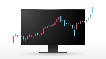 Candlestick treading index infographic on computer monitor vector background