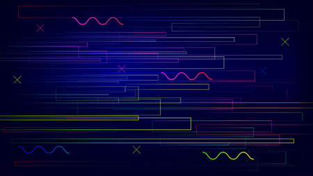 Speed colorful trendy line geometric elements connection vector background