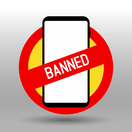 Prohibiting mobile phone banned sign vector logo 일러스트