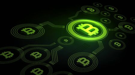 Bitcoin digital currency glowing green in the dark abstract background