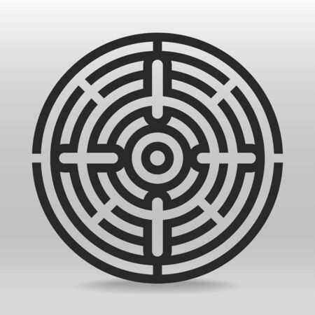 Circular maze thick line  puzzle vector background