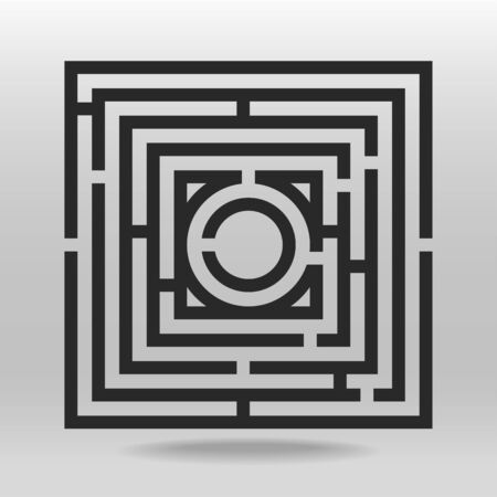 Square maze puzzle thick line vector background