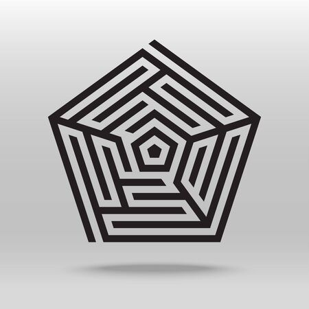Pentagonal maze puzzle icon thick line vector background