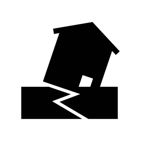 Earthquake icon house collapses in the ground vector background