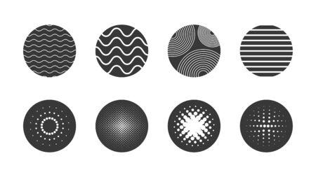 Geometric circle halftone and geometric shapes set element background Illustration