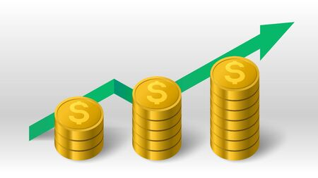 Golden coins stack and green growth arrow up trend diagram vector background Иллюстрация