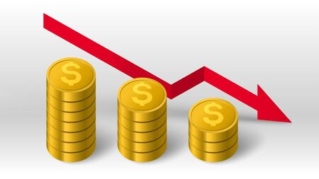 Golden coins stack and red decreasing arrow down trend diagram vector background