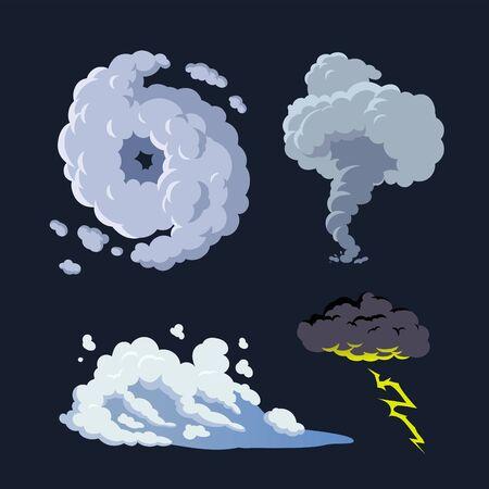 Hurricane storm surge tornado thunderstorm illustration vector background set Foto de archivo - 133620379