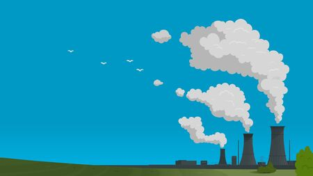 Nuclear energy power industry wth blue sky illustration background