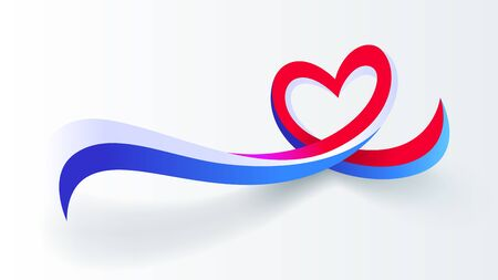 Red blue white motion heart wave abstract vector background Illustration