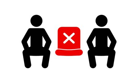 Social distancing sitting the alternate seating rules icon pictogram sign