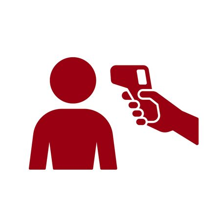 Human body Non-contact infrared IR temperature fever check gun in hand silhouette simple icon vector background Illustration