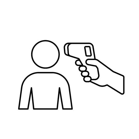 Human body Non-contact infrared IR temperature fever check gun in hand outline simple icon vector background