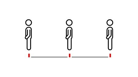 Standing at red line social distancing rule icon infographic for waiting advice Иллюстрация