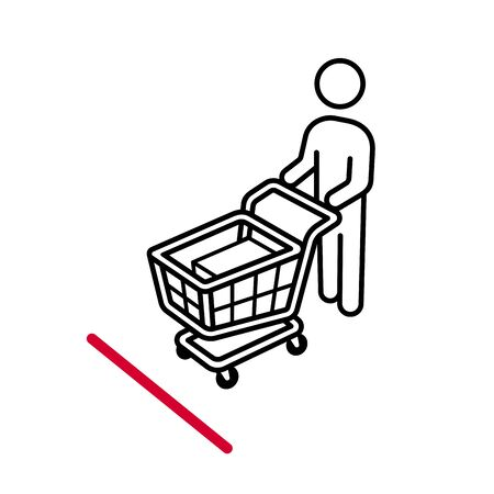 Shopping cart line up behind the decal marker sticker on the floor for keep social distancing from coronavirus icon sign symbol