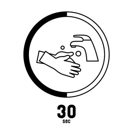 Washing hands 30 seconds keep healthy and prevent virus sign logo symbol Logo