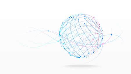 Futuristic globe data network elements abstract vector background Archivio Fotografico