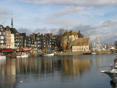 normandy: view of the port of honfleur, normandy, france