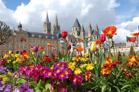 city hall between flowers photo