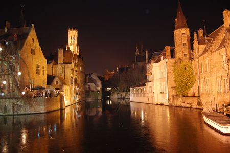 brugge, the venice of the nord, in winter, brugge, belgium photo