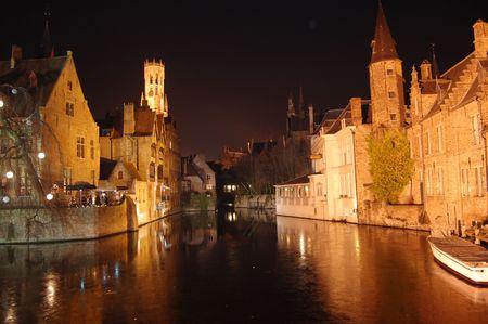 ブルージュ、冬、ブルージュ、ベルギーでの北のヴェネツィア